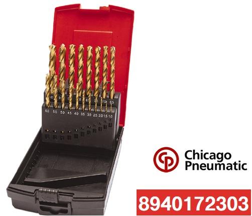 Chicago Pneumatic 19-Dielna sada vrtákov do kovu