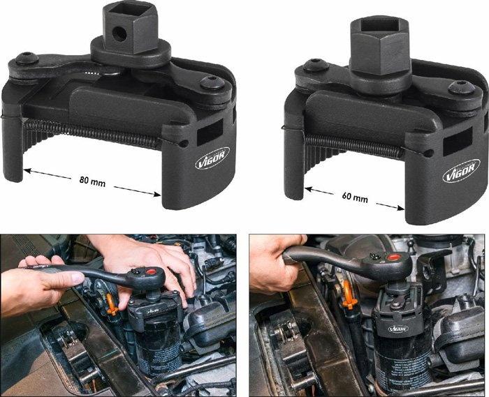Univerzálny kľúč pre upínanie olejových filtrov, 60 - 80 mm VIGOR V4413