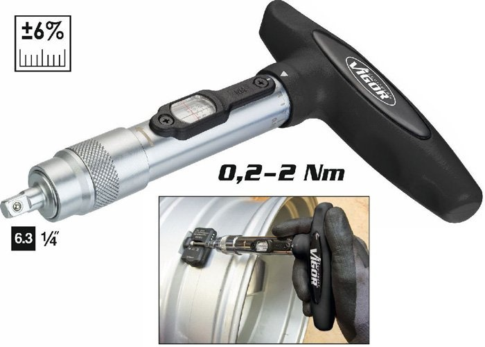 Momentový skrutkovač s T-rukoväťou 0,2-2Nm VIGOR V4431-2